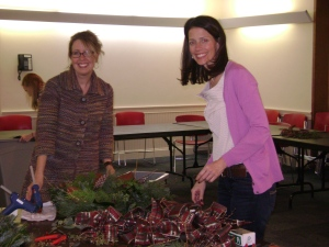 Heather Potter and friend at wreath decorating workshop in December, 2013