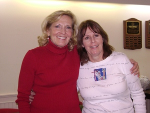 Pam Sedor and Anne Donahue at wreath decorating workshop in December, 2013