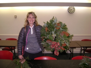 Gay Lacy at the wreath decorating workshop in December, 2013