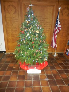 The Library Christmas tree donated and decorated by The Community Garden Club at Wayne, 2014