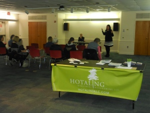 Hotaling Investment Management presenting an Alzheimer's resources lectureon 3/10/15, with Eileen Paul, Claire Day, Valerie-Clark Roden, and Bruce Hotaling