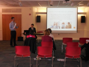 Bill Velazquez from Dunwoody Homecare, with Joshua  Wilkins from Anderson Elder Law, at the program on Understanding Care At Home, on 3/11/15