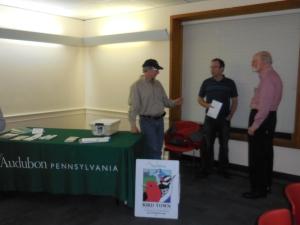 Steve Saffier, Dan Duran, John Fischer at the Audubon table