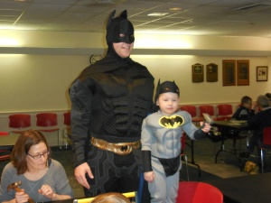 Batman with his mini-me at the Library workshop