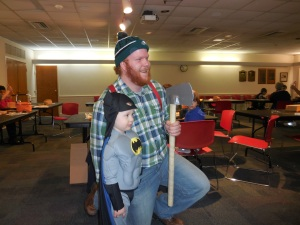 Paul Bunyan with little Batman