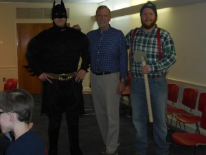 John Miller with Batman and Paul Bunyan at the workshop