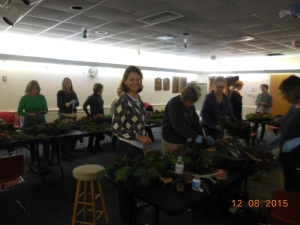 Diane, helping at the Wreath Decorating Workshop on December 8, 2015