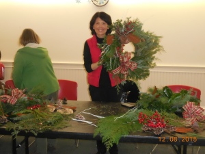 Yu-Mei Chiang at the Wreath Decorating Workshop, December 8, 2015