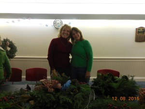 Pam and Anne at the Wreath Decorating Workshop